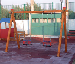 Κούνια ξύλινη νηπίων 2 θέσεων