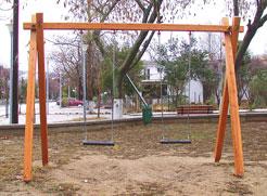 Κούνια ξύλινη παιδιών 2 θέσεων