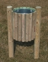 Cylindrical litter bin with treatment wood 35 lt